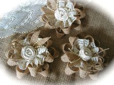 shabby chic burlap crafts   Rustic Shabby Chic Burlap And Lace Flowers Wholesale Rosettes Wedding ...