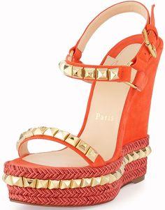 knock off christian louboutins - Christian Louboutin Cataclou 140 embellished cork wedge sandals ...