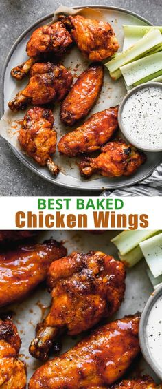 Crispy oven Baked Chicken Wings are so easy to prepare and you don't have to bother with all the grease from frying! A healthier yet delicious way to enjoy wings! via # Easy Recipes for men Crispy Baked Chicken Wings Best Baked Chicken Wings, Oven Baked Chicken Tenders, Crispy Baked Chicken Thighs, Easy Baked Chicken, Baked Chicken Recipes, Crispy Chicken Wings, Baked Wings Recipe, Oven Wings Crispy, Oven Baked Chicken Wings