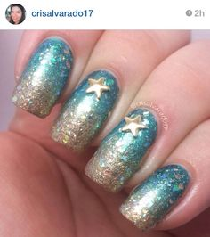 Sparkly beach gradient nails