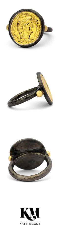 COIN RING by Kate McCoy | Hand made from sterling silver and black rhodium and gold plated this ring is great to wear with a casual chic outfit. #Rings #CoinRing #Passion #CasualFashion #Lifestyle