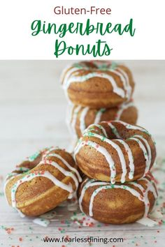 Best Gluten Free Desserts, Gluten Free Donuts, Healthy Donuts, Delicious Donuts, Christmas Donuts, Christmas Treats, Christmas Recipes, Christmas Breakfast, Holiday Foods