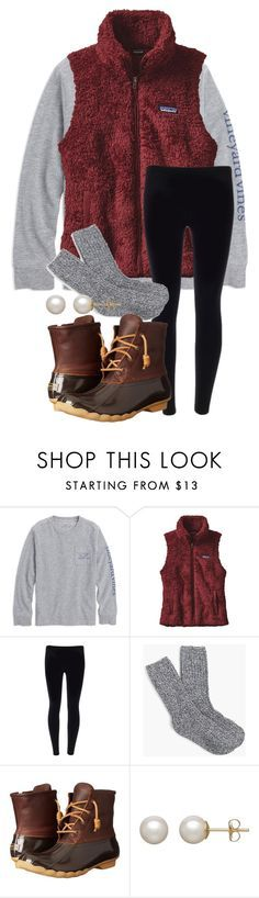 """""""Patagonia vests or pullovers?? your answer in comments"""" by parker3202 ❤ liked on Polyvore featuring Patagonia, J.Crew, Sperry and Honora"""