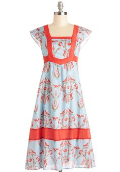 Fontaine Your Excitement Dress, #ModCloth. Love the cut of this dress. Easy summer dress. Style. Women's fashion. Fox. Blue and Red.
