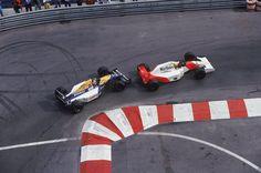Ayrton Senna leading Nigel Mansell, Monaco 1992, (2145x1426)