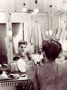 Judy Garland (June 10, 1922 – June 22, 1969) applying her own makeup