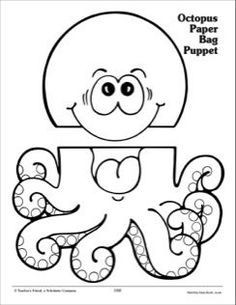 Octopus: Paper Bag Puppet Pattern by Scholastic Octopus Crafts, Ocean Crafts, Fish Crafts, Paper Plate Crab, Paper Plates, Art For Kids, Crafts For Kids, Kid Art, Paper Bag Crafts