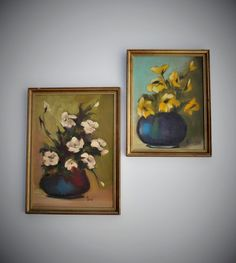 "Vintage Original Paintings, 15"" x 11"", Gold Frames, Coordinating Pair, Florals Flowers, Artist Signed, 1950's - 1960's, Mid Century Wall Art"