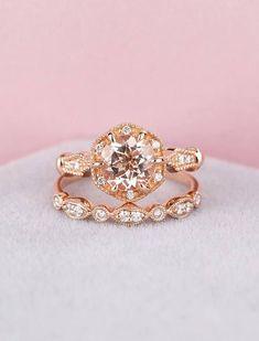 Vintage engagement ring Rose gold Antique engagement ring Art