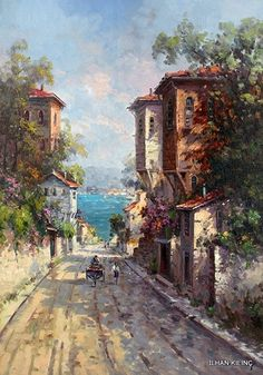 Scenery Paintings, Paintings I Love, Beautiful Paintings, Landscape Art, Landscape Paintings, Islamic Paintings, Street Painting, Istanbul, Gravure
