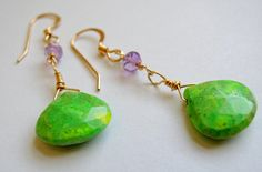 Green Turquoise and Amethyst Gold Filled Earrings http://bethlernerjewelry.com/collections/earrings/products/green-turquoise-and-amethyst-gold-filled-earringsEarrings – Beth Lerner Jewelry