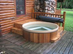 Sunken Rub-a Dub® Hot tub into a deck with a Roll-Up® Cover