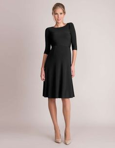 <ul> <li> Luxurious stretch knit </li> <li> Scooped neckline </li> <li> Stylish v back </li> <li> Above the knee </li> <li> 3/4 sleeves </li> </ul> <p> Crafted in a luxurious stretch knit; our elegant V Back Maternity Dress is a classic choice for stylish winter occasions. Offering plenty of stretch and a flattering fit & flare shape; it is designed to provide a timeless fashion option for before, during and after pregnancy. Featuring a scooped neckline with a low V back, and chic ¾ length…