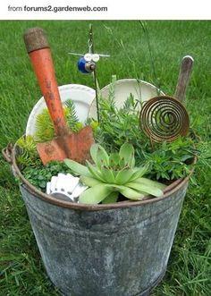 Miniature Junk Gardens – Garden Junk Forum – GardenWeb : my kind of fairy garden - All For Herbs And Plants Garden Web, Garden Junk, Garden Planters, Succulents Garden, Garden Design, Garden Forum, Big Garden, Terrace Garden, Easy Garden