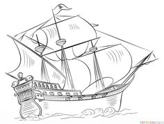 How to draw a pirate ship   Step by step Drawing tutorials