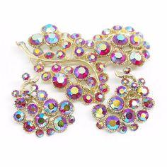Rhinestone Brooch Rhinestone Earrings BSK Pink by CarolynsTreasure