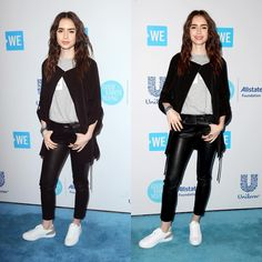 #LilyCollins at WE Day California in Los Angeles - April 19, 2018.