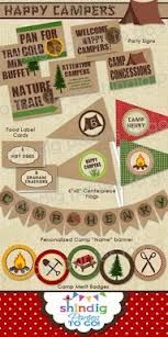 Camping theme party templates - badges for completed games/tasks