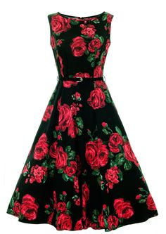 Red & Green Rose Floral Hepburn Dress : Lady Vintage