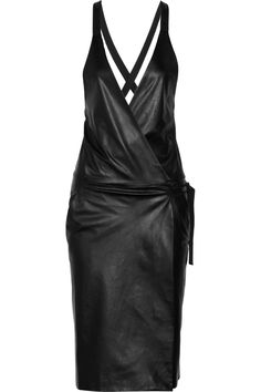 Black Leather wrap dress | Proenza Schouler Spring Summer 2013 #fashion