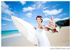 Waimanalo beach wedding with surfboards in Oahu | Photo by http://rightframe.net