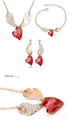 Aliexpress.com : Buy Woman fashion wings shape heart crystal pendant necklace drop earrings Bracelets Jewelry sets made with Swarovski Elements from Reliable jewelry colors suppliers on Xingzou Jewelry | Alibaba Group