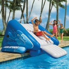 Inflatable waterslide into the pool!