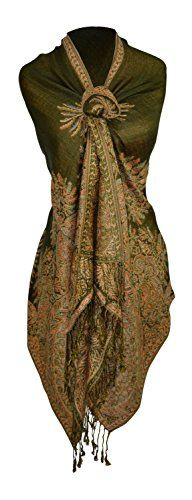 """Peach Couture Soft Vintage Persian Paisley Printed Solid Pashmina Shawl Scarf (Olive). New by Peach Couture (Peach Couture A Registered Trademark). The vintage Persian print of these pashminas are intricately woven for an exceptional design. Extremely soft and silky for a luxurious look and feel. Each end of the pashmina shawl features a 3 in fringe. Product Dimensions (IN): 27"""" X 72""""."""