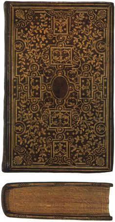 """A """"fanfare style"""" binding in the manner of the Ève brothers on a copy of Horae beatissimae Virginis Mariae. Note the gauffered edge. Printed by Christopher Plantin, Antwerp, 1570. Lessing J. Rosenwald Collection, Library of Congress."""
