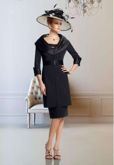 Satin Scoop Sheath Knee-Length Mother Of The Bride Dress with Matching Overcoat - Mother of the bride - WHITEAZALEA.com