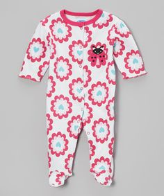 Take+a+look+at+the+bon+bébé+Pink+Floral+Snuggle+'N'+Play+Footie+on+#zulily+today!