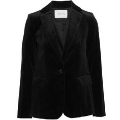 FRAME Cotton-blend velvet blazer (32.875 RUB) ❤ liked on Polyvore featuring outerwear, jackets, blazers, black, velvet blazer, velvet jackets and blazer jacket