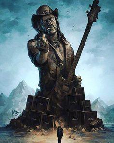 Born to Lose, Live to Win Lemmy monumental fan art by Matt Dixon. Heavy Metal Art, Heavy Metal Bands, Metal Viking, Metallica, Hard Rock, Rock And Roll, Band Wallpapers, Music Artwork, Art Music