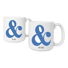 Cathys Concepts Her One  His Only Ampersand Coffee Mugs Set of 2 Large White -- This is an Amazon Associate's Pin. Details on product can be viewed on Amazon website by clicking the VISIT button