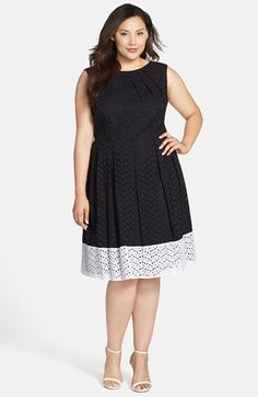 London Times Colorblock Eyelet Cotton Fit & Flare Dress (Plus Size) available at #Nordstrom