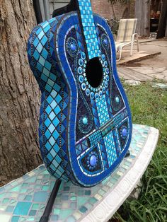 It's All About The Blues by Elsieland Mosaics Mosaic Projects, Projects To Try, Mosaic Tile Art, Mosaic Madness, Guitar Art, Guitars, Blues, Patriots, Musical Instruments