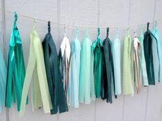 Aqua Forest Tissue Paper Tassel Garland  - Party - Wedding - Baby Shower - Nursery
