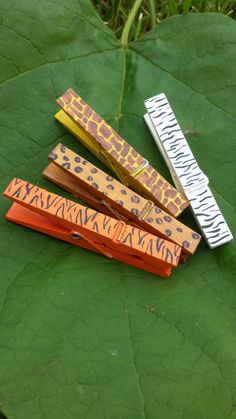 Animal Print Hand-Painted Clothespins with Magnets, Cheetah, Tiger, Zebra, Giraffe, Velcro, or Tacks for Classroom Decor, Organization, Dorm...