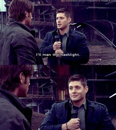 Dean and the flashlight... that face, lmfao!! When he runs outta there... oh man, I crack up EVERY time!! XD