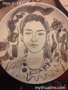 Chân dung trên đĩa gốm của Hs Lê Cường 1