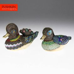 ANTIQUE 20thC CHINESE SOLID SILVER & CLOISONNE ENAMEL DUCK FIGURAL BOXES c.1930
