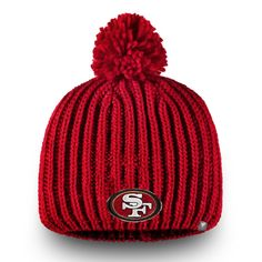 4dde290658a Women s San Francisco 49ers NFL Pro Line by Fanatics Branded Scarlet Iconic  Ace Knit Beanie