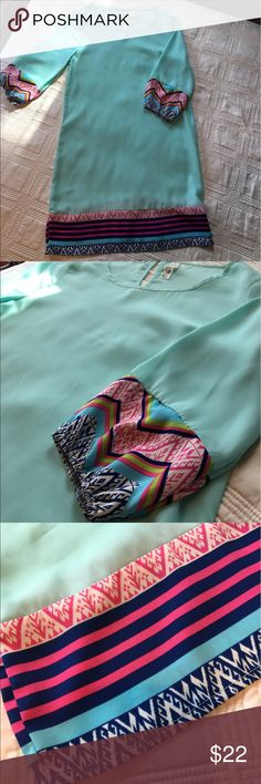 Southern Charm Shift Dress! Gorgeous turquoise shift dress bought from a boutique in Charleston, SC! Has that southern charm feel! Small darker spot on front (shown in pictures- can't see it unless you're really close up)! Worn once and dry cleaned! Turquoise underlay so nothing shows! Dresses