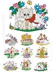 A bit pricey, but adorable!  --  Sewing Patterns - Spring Kitties Embroidery CD