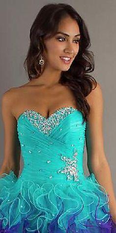 Sexy Organza Blue Sleeveless Short Natural Prom Dresses klkdresses15485ser #longdress #promdress