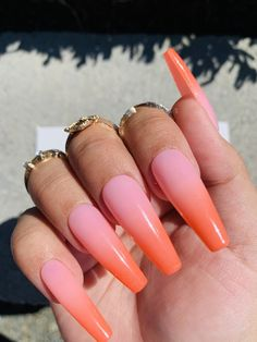 Black Ombre Nails, Pink Ombre Nails, Rose Nails, Orange Nails, Orange Pink, Long Square Acrylic Nails, Acrylic Nails Coffin Short, Cute Acrylic Nails, Stick On Nails