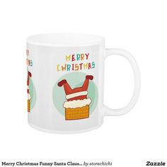 Merry Christmas Funny Santa Claus Stuck In Chimney