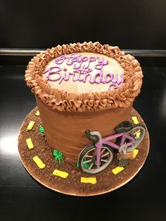 Chocolate Cake with Chocolate Buttercream Icing & Fondant Bike  (June 2017)