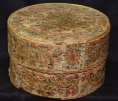 """18th Century round, rosemaled/painted Norwegian """"tina"""" storage box."""