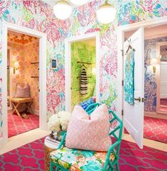 Hand painted dressing rooms at the Lily Pulitzer store in Durham at Streets of Southpointe Mall- Love it!